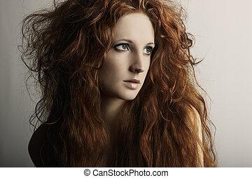 moda, retrato, de, un, joven, hermoso, pelirrojo, mujer