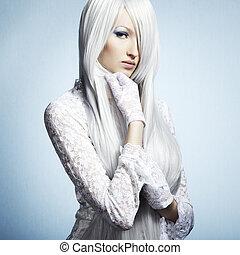 moda, retrato, de, un, joven, hermoso, rubio, woman., invierno, makeu