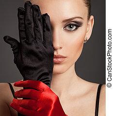 moda, retrato, de, un, mujer hermosa, en, guantes
