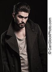 moda, retrato, hombre, serio, barba