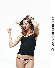 moda, retrato, mujer joven, posar, en, ropa interior