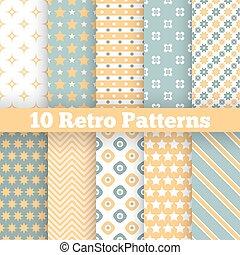 moda, retro, diferente, vector, seamless, patrones