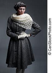 moda, retro, guantes, modelo, -, chamarra, chal, prendas, blanco