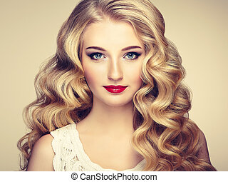 moda, ritratto, di, giovane, bella donna, con, elegante, acconciatura