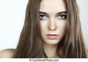 moda, ritratto, di, giovane, bello, woman., primo piano