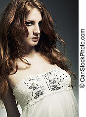 moda, ritratto, di, uno, giovane, bello, redheaded, donna
