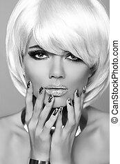 moda, rubio, girl., belleza, retrato, woman., blanco, cortocircuito, hair., manicured, nails., negro y blanco, photo., fringe., moda, estilo