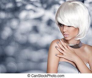 moda, rubio, girl., mover, hairstyle., blanco, cortocircuito, hair., belleza, puerto