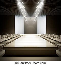 moda, runway., vacío