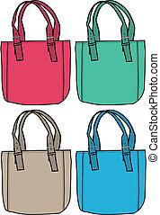 moda, saco, ilustração