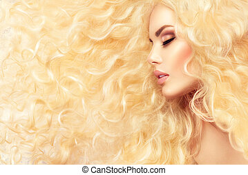 moda, saudável, cabelo longo, ondulado, loura, menina