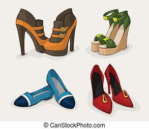 moda, scarpe, collezione, donne