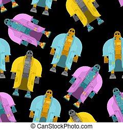 moda, seamless., chamarra, cyborg, robot, ilustración, abrigoligero, fondo., vector, patrón