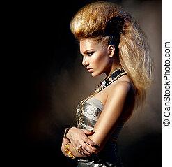 moda, sedia dondolo, stile, modello, ragazza, portrait., acconciatura