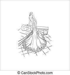 moda, senhora, vetorial, ilustração