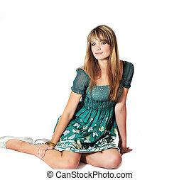 moda, sentando menina