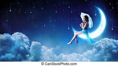 moda, sentando, noturna, -, lua, fantasia, sonhar, menina