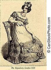 moda, sentando, vindima, desenho, 1820, londres, decorações, rosa, senhora