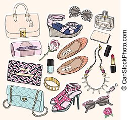 moda, set, accessori