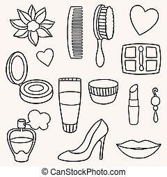 moda, set, cosmetico, bellezza, accessori
