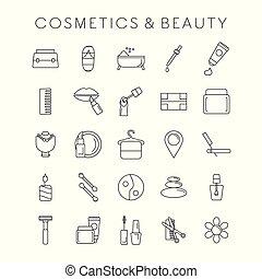 moda, set, cosmetico, bellezza, icone