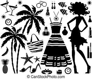 moda, set, di, tropicale, resto, con, silhouette, di, donna