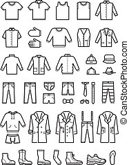 moda, set, icone, mens, vettore, abbigliamento, linea, maschio