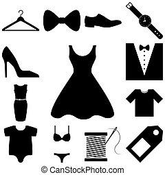 moda, set., ilustração, vetorial, sinais, vestido