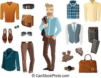 moda, set, uomo