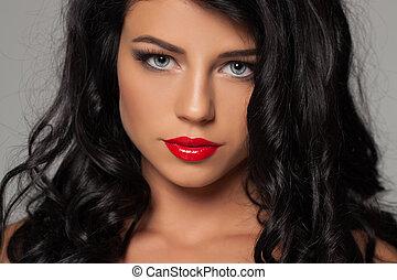 moda, sexy, mujer, belleza, retrato