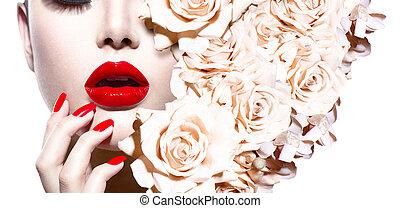 moda, sexy, mujer, con, flowers., moda, estilo, modelo