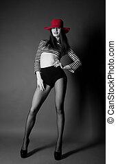 moda, sexy, niña, con, sombrero rojo