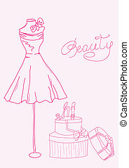 moda, shoes, -, estilizado, dama, doodles, vestido