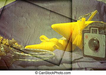 moda, shoes, y, retro, cámara fotográfica de la foto