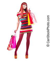 moda, shopping, girl., mulher, com, bolsas para compras, sobre, branca