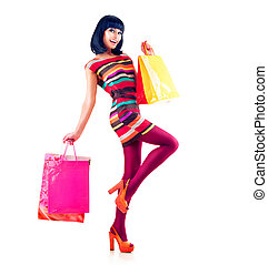 moda, shopping, lunghezza, pieno, ritratto, modello, ragazza