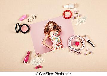 moda, signora, accessori, collage