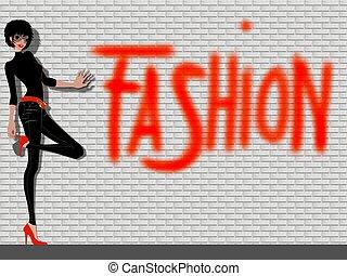 moda, signora, fondo