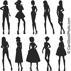 moda, silhouette, astratto, ragazze, nero, occhiate