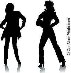 moda, silhouette, donne