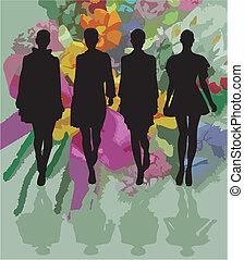 moda, silhouette