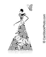 moda, silueta, desenho, casório, menina, vestido, seu