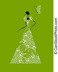 moda, silueta, diseño, boda, niña, vestido, su