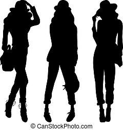 moda, silueta, modelos, topo, meninas, vetorial