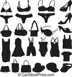 moda, silueta, vetorial