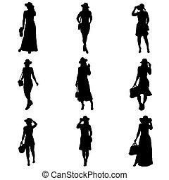 siluetas de mujeres con sombrero