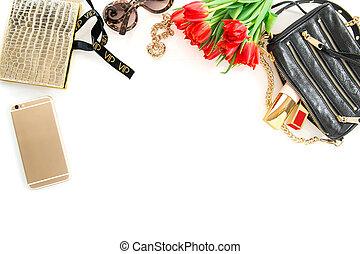 moda, simulado, arriba, con, accesorios, flores, cosmetics.,...
