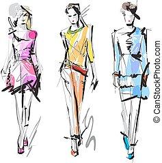 moda, sketch., models.