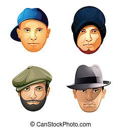 moda, sombrero, hombre, barba