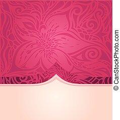 moda, spazio, modello, carta da parati, mandala, floreale, vettore, disegno, fondo, trendy, copia, rosso